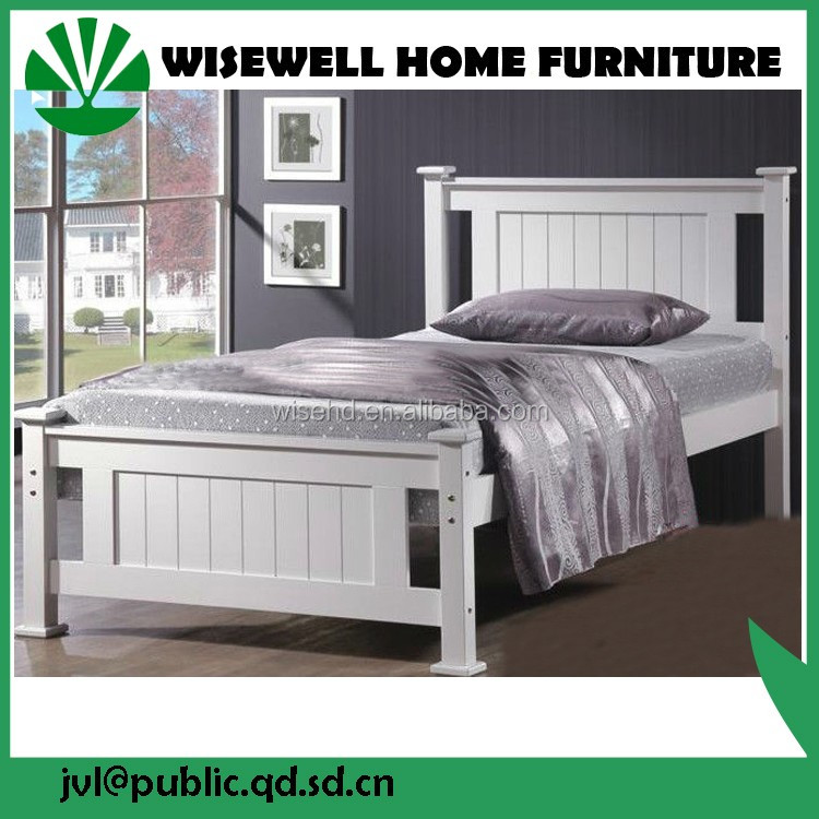 W-B-0092 Simple Designs Modern Solid Wood Single Bed