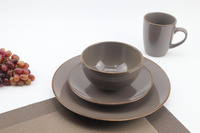 16pc stoneware color glaze/solid color dinnerset service for 4/ AB grade/Matte finish/Embossed/ 2016 Aldi hot selling