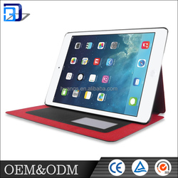 Factory price multifunction two folding rose red color anti slippery leather tablet case for ipad air