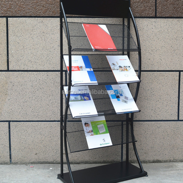 Rolling Black Metal 4 layer Literature Display Stand / Office Magazine & Brochure Catalog Organizer Rack
