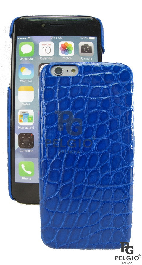 "PELGIO Genuine Crocodile Belly Skin Mobile Phone i6 4.7"" Hard Case Blue"