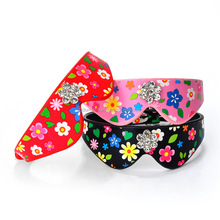 Hot Selling Big Quantity Competitive Price Pet Proudcts Puppy Supplies Flower Printed PU Dog Collars