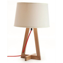 Designer Lighting Fabric Shade Natural Base Modern Wooden Table Lamp For Bedroom