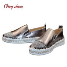 New Women's Fashion <strong>Flats</strong> Casual Comfortable Slip On Shoes Rhinestone Ladies <strong>Flat</strong> Platform Loafers