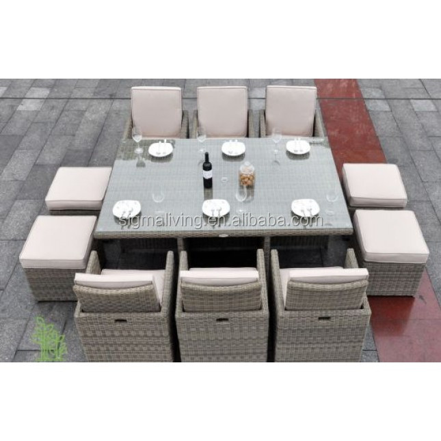 Sigma outdoor restaurant furniture cube dining sets balcony rattan table chair set