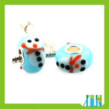 DIY Christmas snowman pattern glass beads fit european bracelets