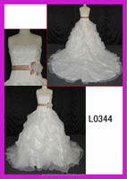 2015 guangzhou new arrival organza A-line bridal gowns with ruffles/pink sash belt L0344