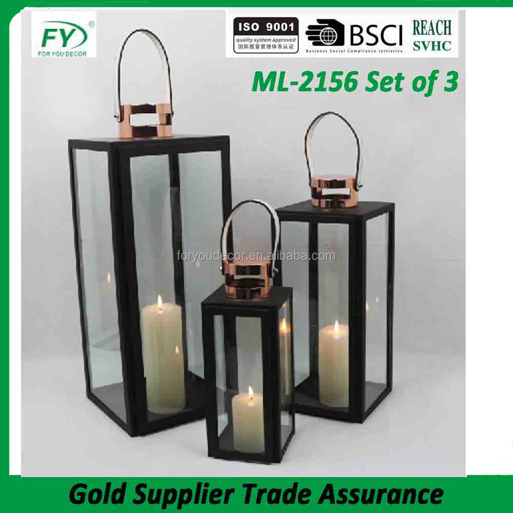 Moroccan style metal iron candle lantern with clear glass and PU handle ML-2156 set of 3
