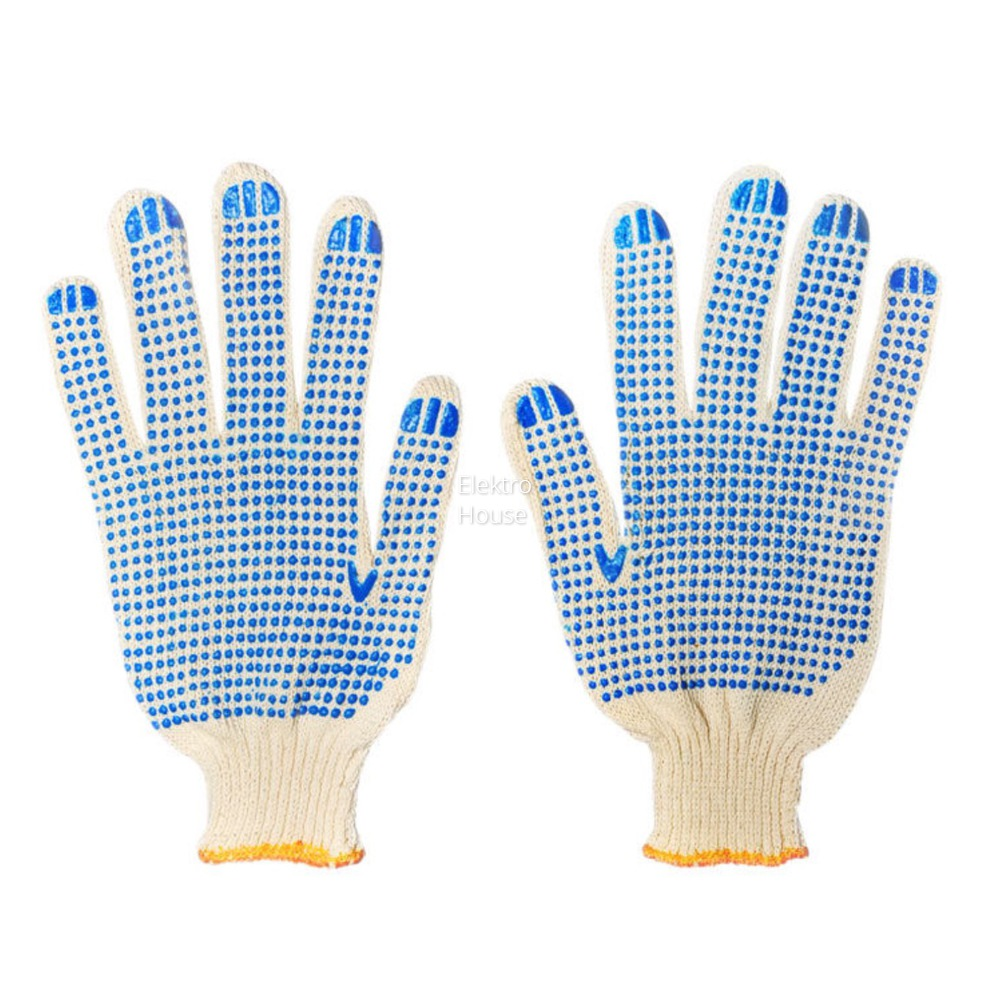 Brand MHR ploycotton shell with pvc dots western safety working gloves industrial pvc cotton dotted gloves