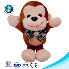 Small monkey soft toy stuffed mini plush monkey keychain cheap cute stuffed plush toy monkey with velcro
