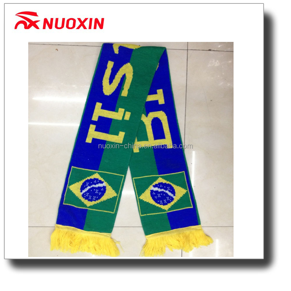 NX promotional good quality double layers Jacuard acrylic football knit scarf with tassel