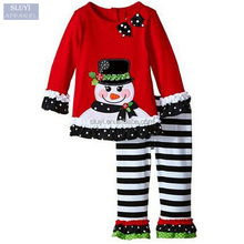 custom Girl Christmas Suit Long Sleeve T-shirt + Pants 2pcs Infant wholesale christmas pajamas