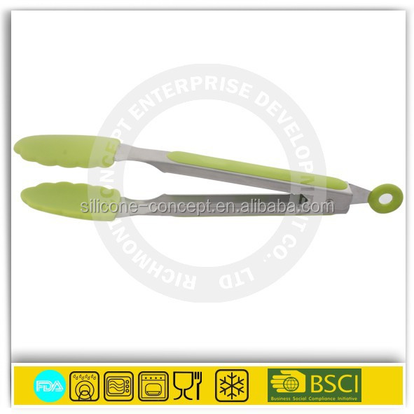 "9"" silicone head S/S handle kitchen tong function of food tongs"