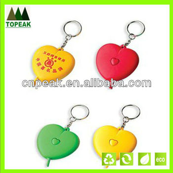 Promotion heart shaped measuring tape with keychain