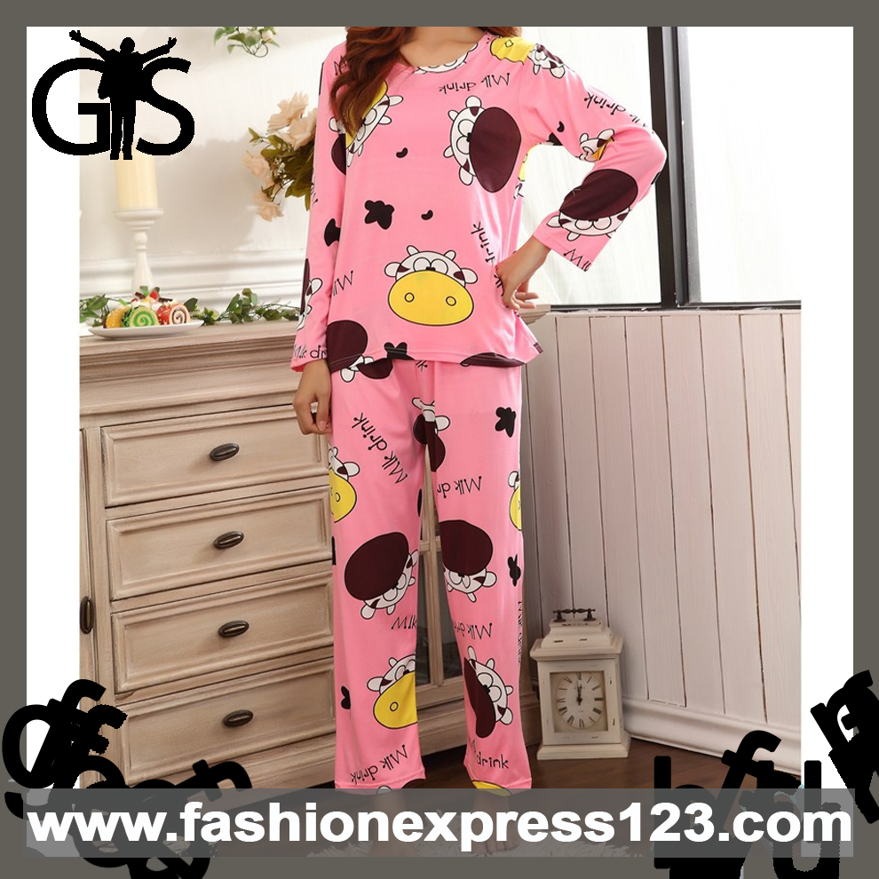 Autumn Two Pieces Cartoon Printed Cotton Women Pyjamas
