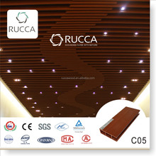 Rucca WPC wood composite ceiling board, pvc architecture false ceiling design for interior decoration 80*25mm building materials