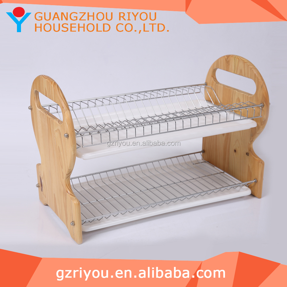 2016 high quality 2 tier wooden dish rack with drainer