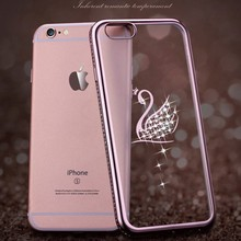 New coming Rhinestones Swan ultra thin clear soft TPU silicone back cover phone cases For iphone 7g case for cell phone