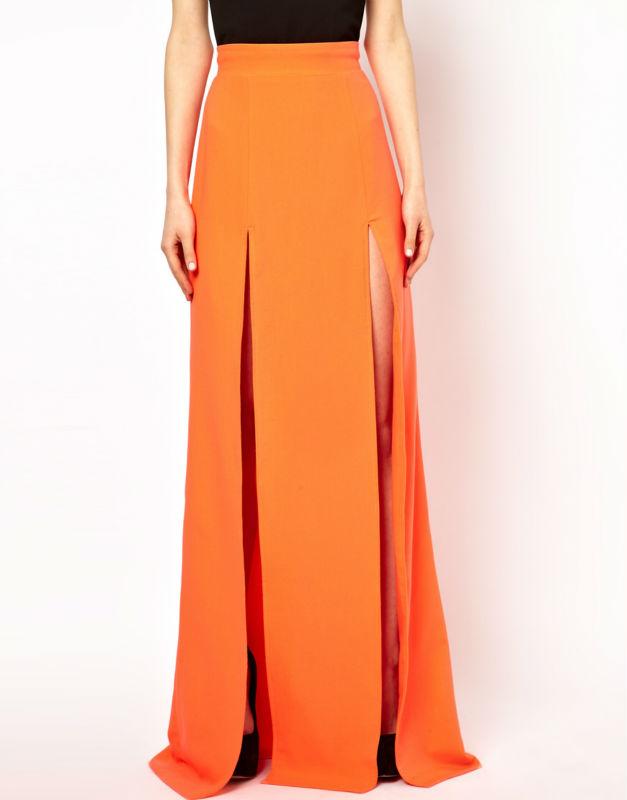 Maxi Skirt Double Thigh Split Skirts Long Knit Floor Length - Buy ...