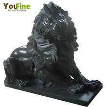 Hand Carving Life Size Black Marble Lion Sculpture