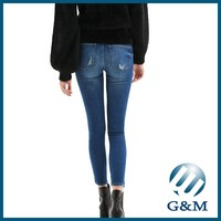 Wholesale Embroidery Washed Denim Skinny Jeans