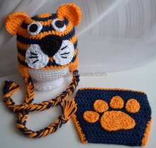 Crochet tiger baby hats in winter