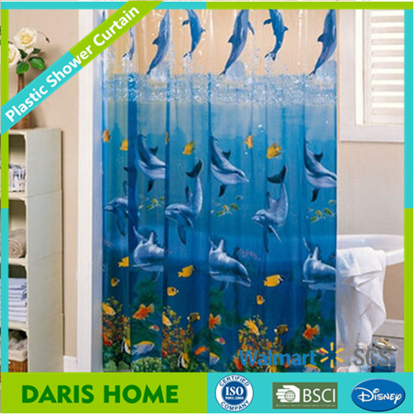 NEW Blue Dolphin Design Plastic Bathroom Shower Curtain, Quality 3D EVA Shower Curtain With Magnet
