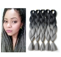 whosale 32inch 165g synthetic hair gray color x pression ombre braiding hair