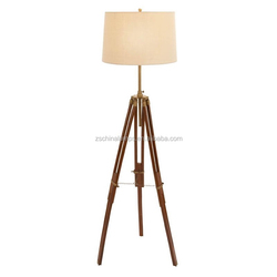2016 beautiful for home for Italy hot sell America UL CUL natural wooden tripod floor lamp with beige lampshade furniture