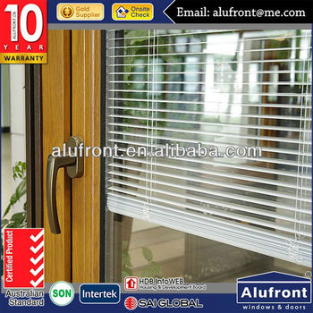 aluminium wood interior windows with internal blinds