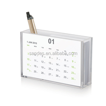 Elegant Desk Clear Plastic 2015 Wedding Gift Calendar Pen Holder