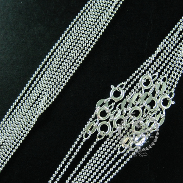 16inch 1mm 925 sterling solid silver beads link ball chain DIY necklace chain supplies 1322031