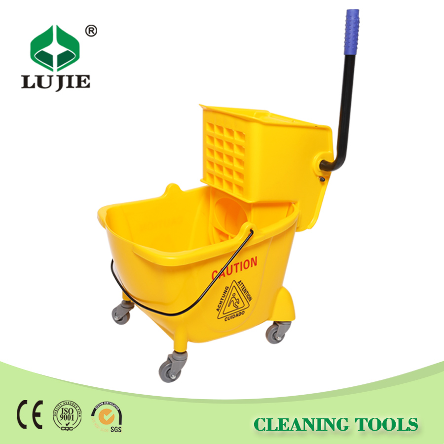 Durable good quality plastic spin wringer mop bucket with wheels