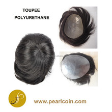 Human Hair Customized Full Handtie Polyurethane PU Men's Toupee