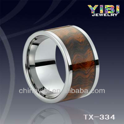 Tungsten Carbide Brown Wood Inlay wholesale fashion jewelry Ring,Wedding Ring Set