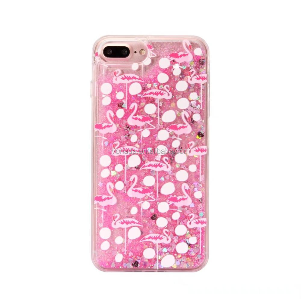 PINK Glitter Flamingo Liquid Skinny Dip Phone Case Cover For iPhone 6 6s 7