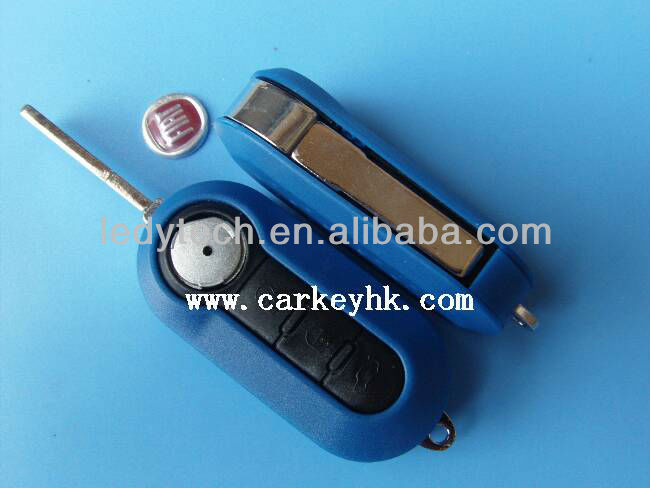 Blue Color Fiat 3 buttons folding remote flip key shell blank cover case fobs