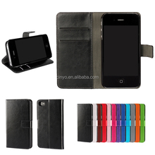 crystal pu leather wallet case cover for iphone 4s 4 with credit cards slots