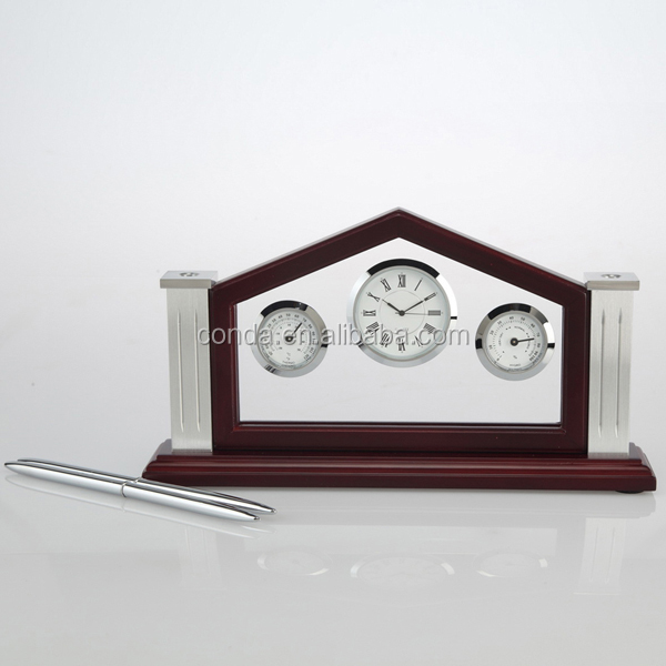Popular wooden table desk clock with pen holders and weather station