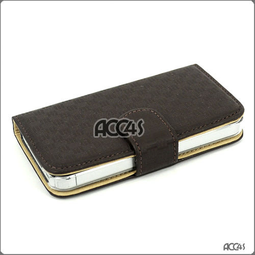 Brown Pattern Leather Protective Pouch Case Cover for iphone 4 battery case P-iPHN4LECASE164