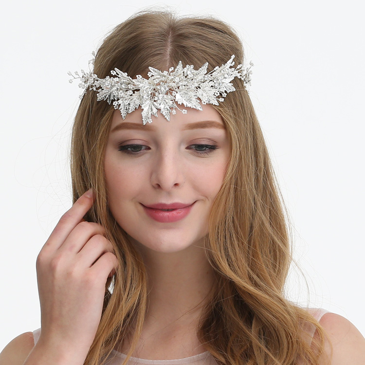 Silver Headband Tiny Beads Rhinestone Leaf Cluster Glinting Wedding Hair Vine Handmade Bridal Hairpieces For Dress