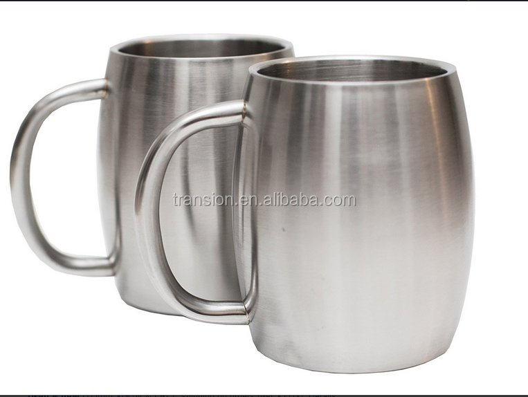 Set of 2 Stainless Steel 14oz Double Walled Insulated Coffee Beer Tea Mugs - Best Value - BPA Free Healthy Choice