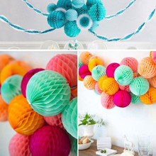 Tissue paper honeycomb, round flower balls for wedding decoration