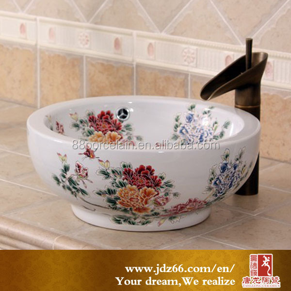 China top-quality fancy wash basin with hand painted peony pattern