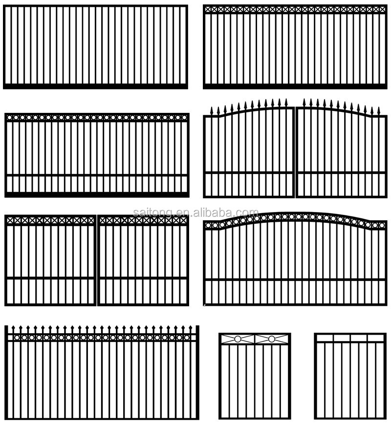 G3015S sliding gate design Spear fencing, Spear top metal fence panel, Spear picket fence gate