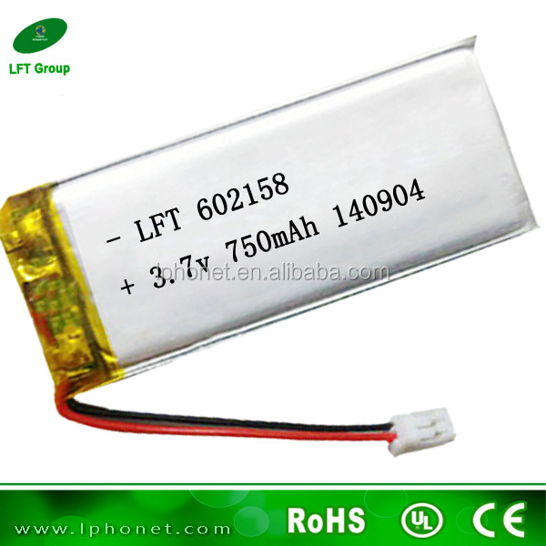 602158 deep cycle li-ion battery 3.7v 750mah rechargeable battery for power tools