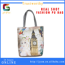 England Retro Designer Beautiful Girl Souvenir Big Ben Pvc Material Bags Handbag Women Cheap Custom Print Shoulder Bag For Girls