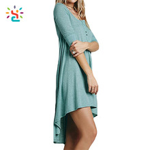 V neck long tail t shirt dress women causal t shirts 100% cotton half sleeve ladies plain t-shirt dresses