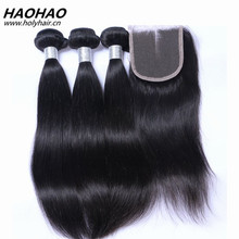 Factory wholesale price 100% unprocessed straight virgin remy malaysian human hair bundles hair weaves with closure frontal