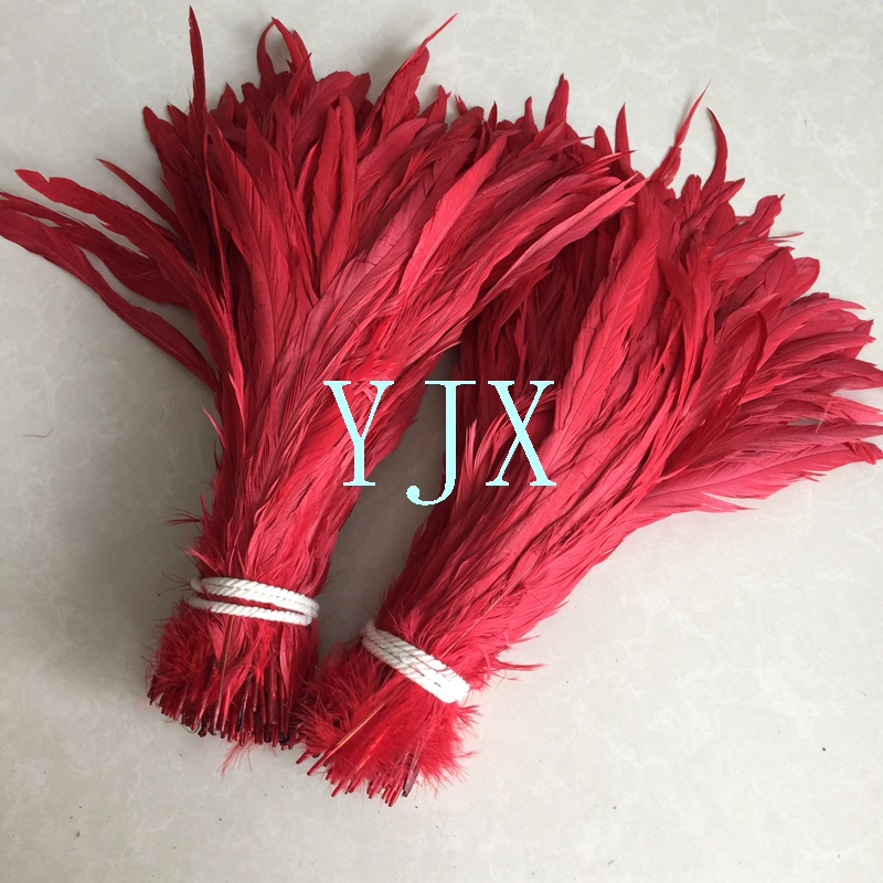 China supplier Free sample red Rooster Tail feather Dyed cock rooster tail Feathers for party supplies